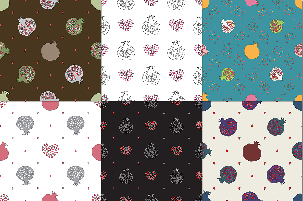 Pomegranate patterns set example image 2