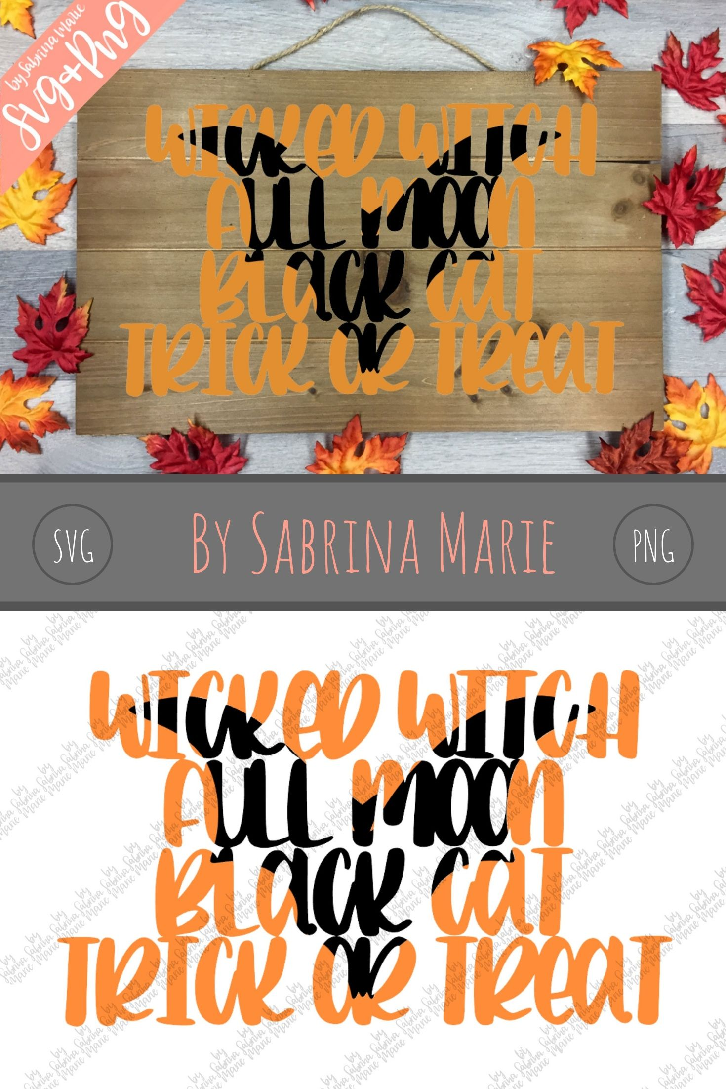 Handlettered Halloween Knockout Design with Bat - SVG/PNG example image 3
