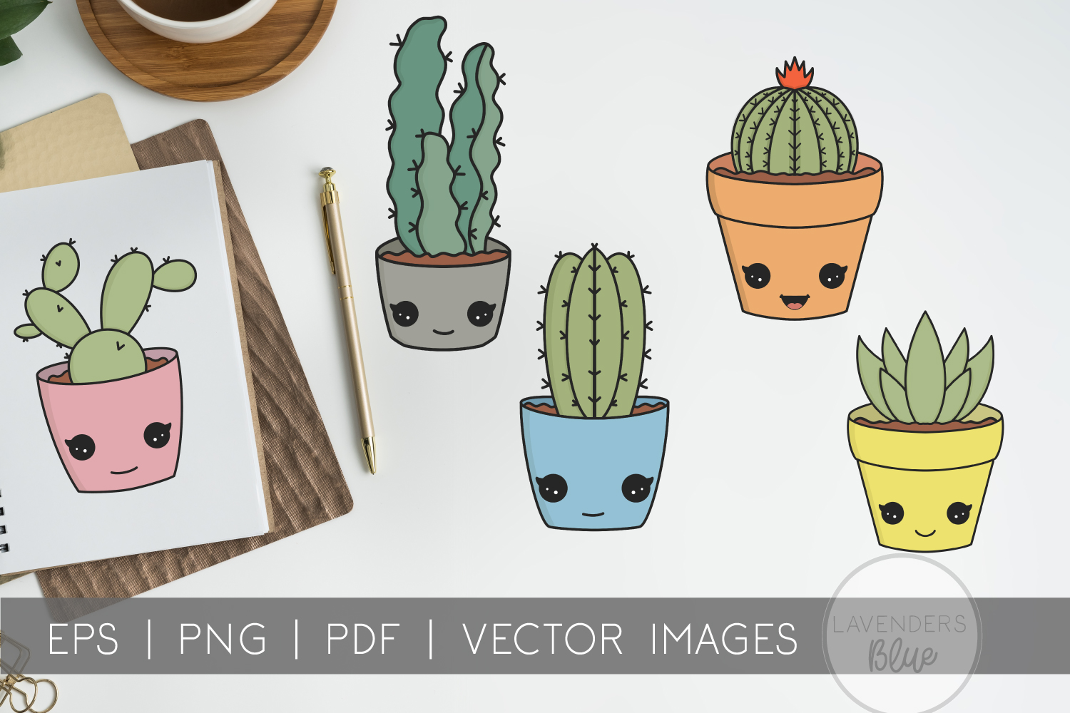 Succulent Pack | Vector succulents & Cactus Kawaii Images example image 4