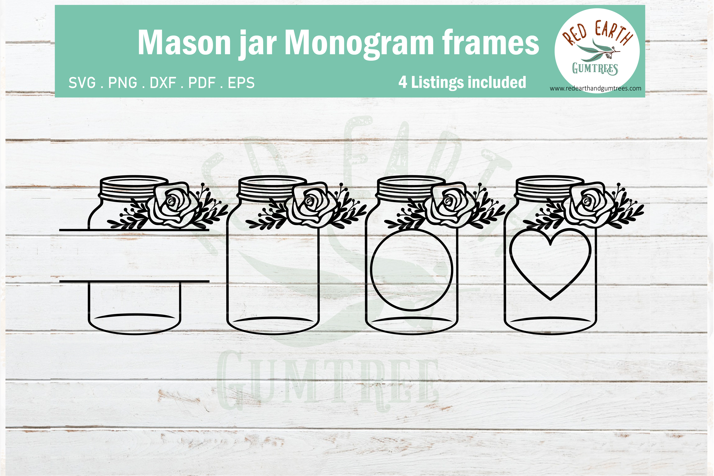 Floral mason jar, wedding mason jar monogram SVG,PNG,DXF,EPS example image 1