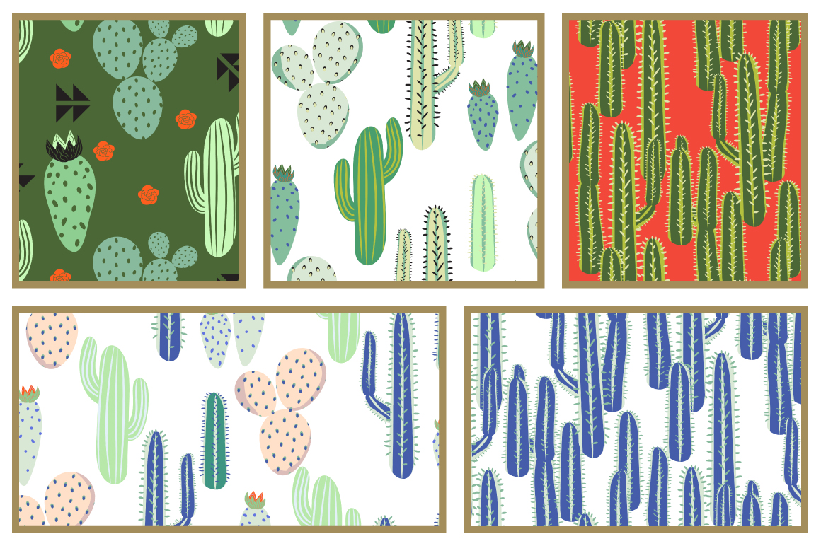 Cacti Seamless Patterns example image 4