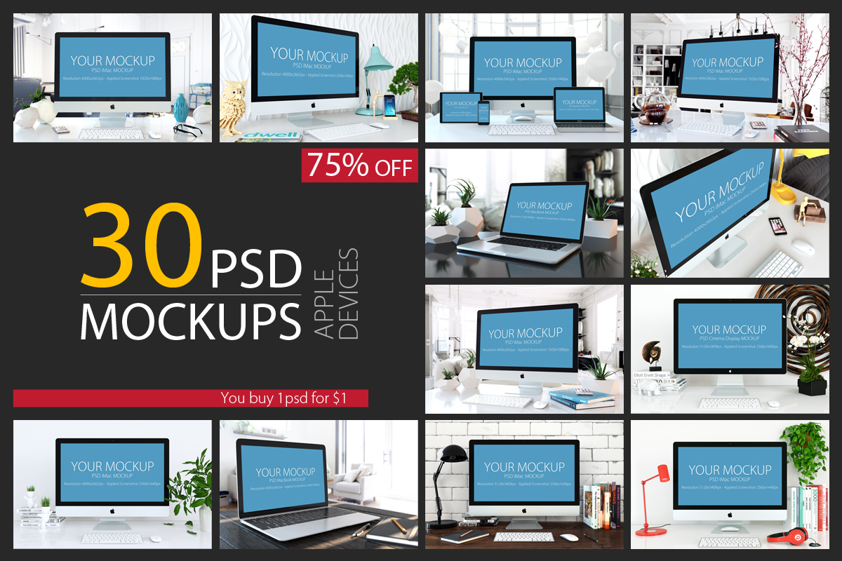 30 PSD Mock-ups Apple Devices example image 1