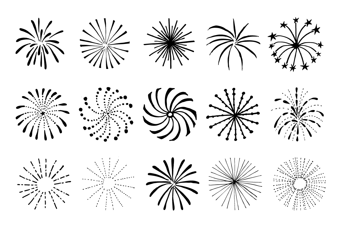 Hand drawn Fireworks & Sunbursts set example image 4