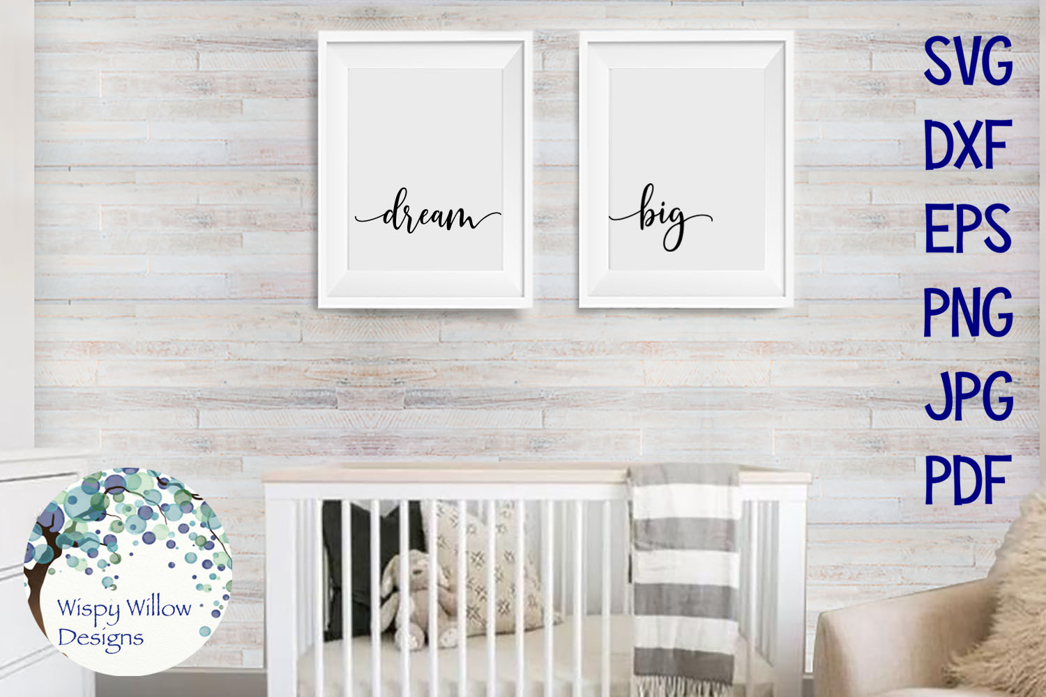 Dream Big | Baby Nursery Sign SVG Cut File example image 2