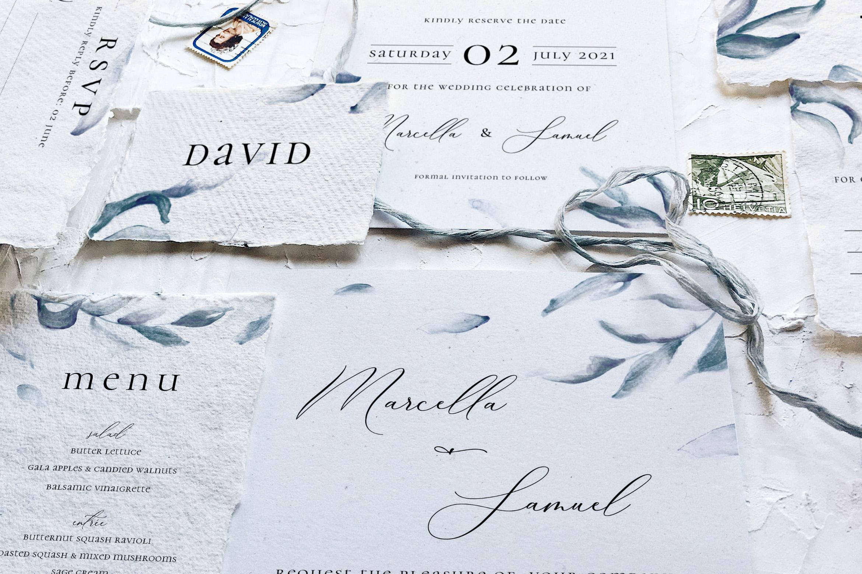 Elegant Blue Watercolor Sprig Wedding Suite example image 4