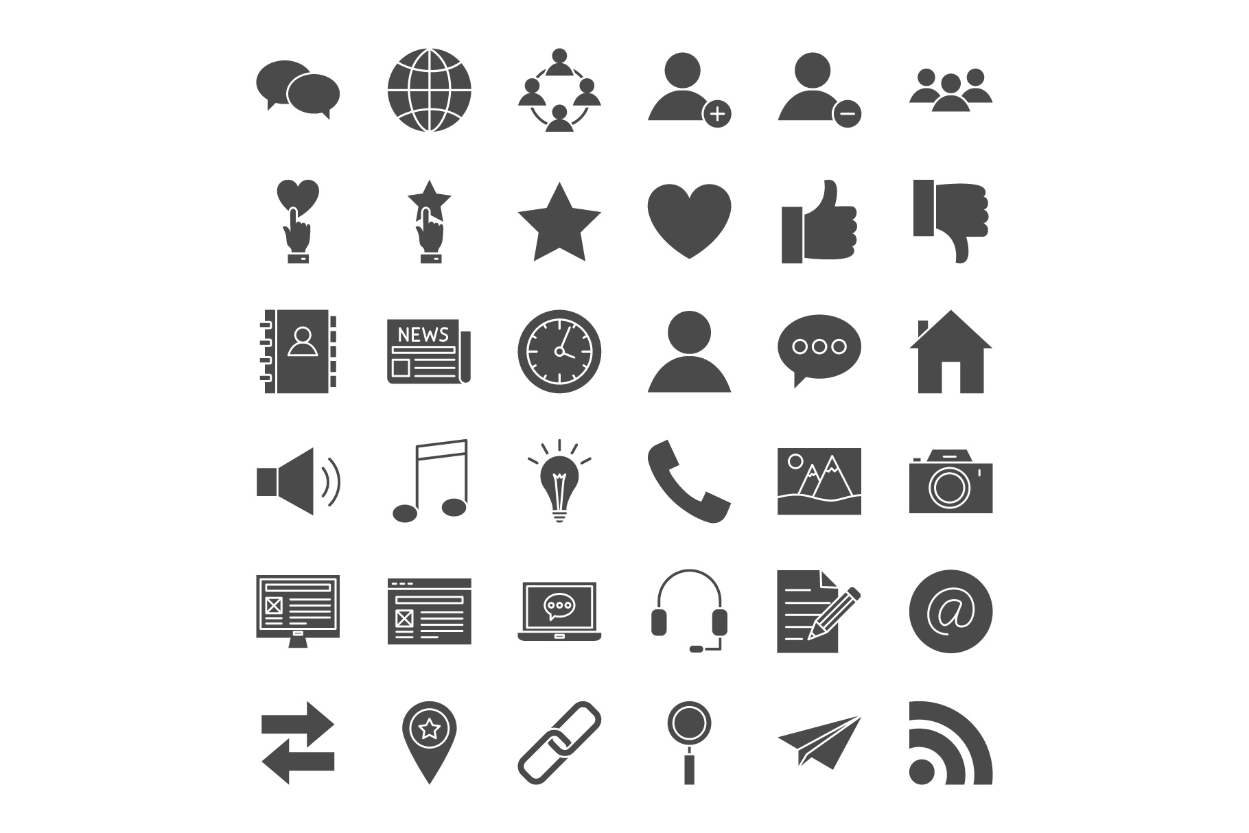 Social Media Line Art Icons example image 2