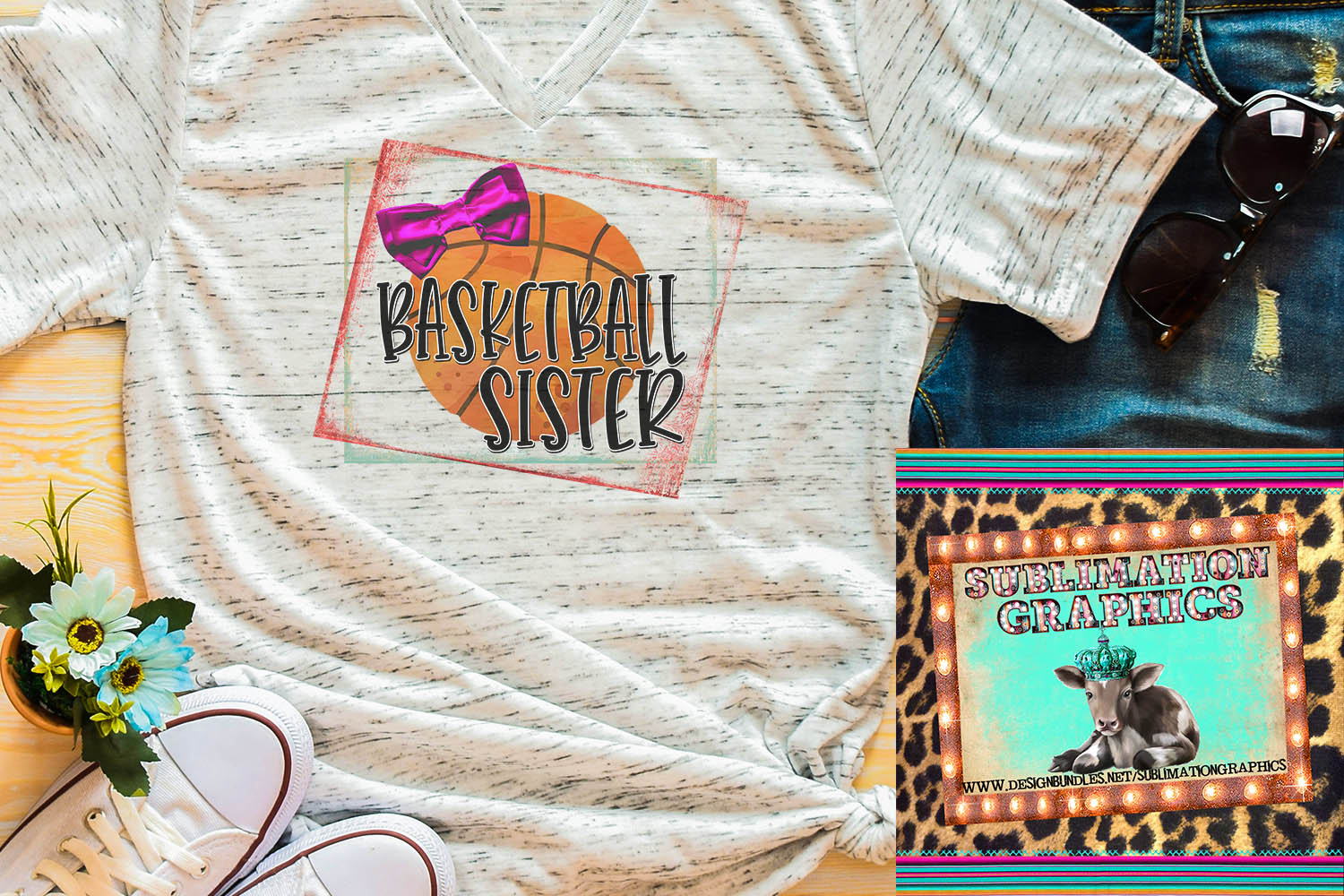 Basketball Sister Sublimation Download example image 1