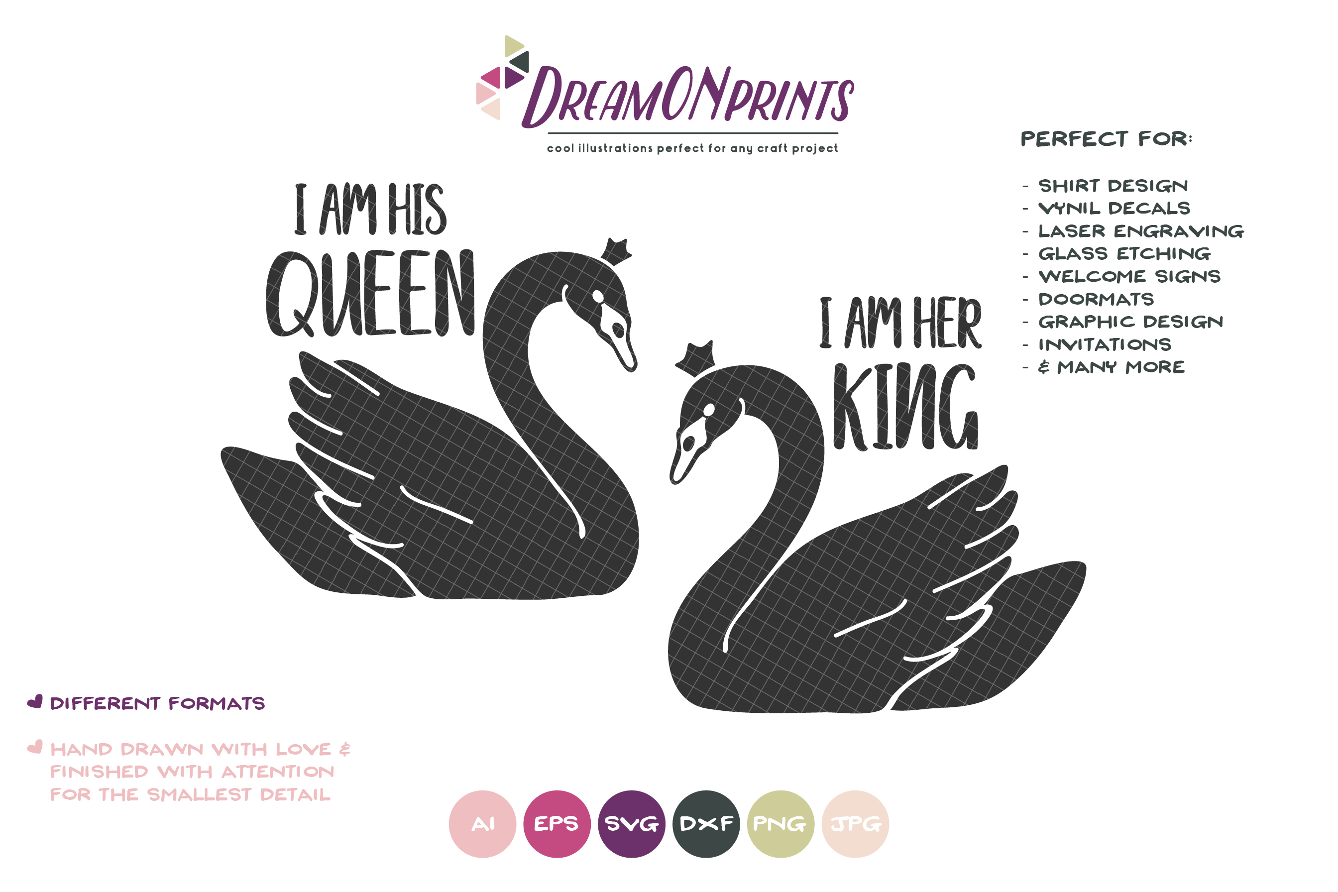 His Queen Her King Svg.Swans Svg His Queen Svg Her King Svg Couples Svg