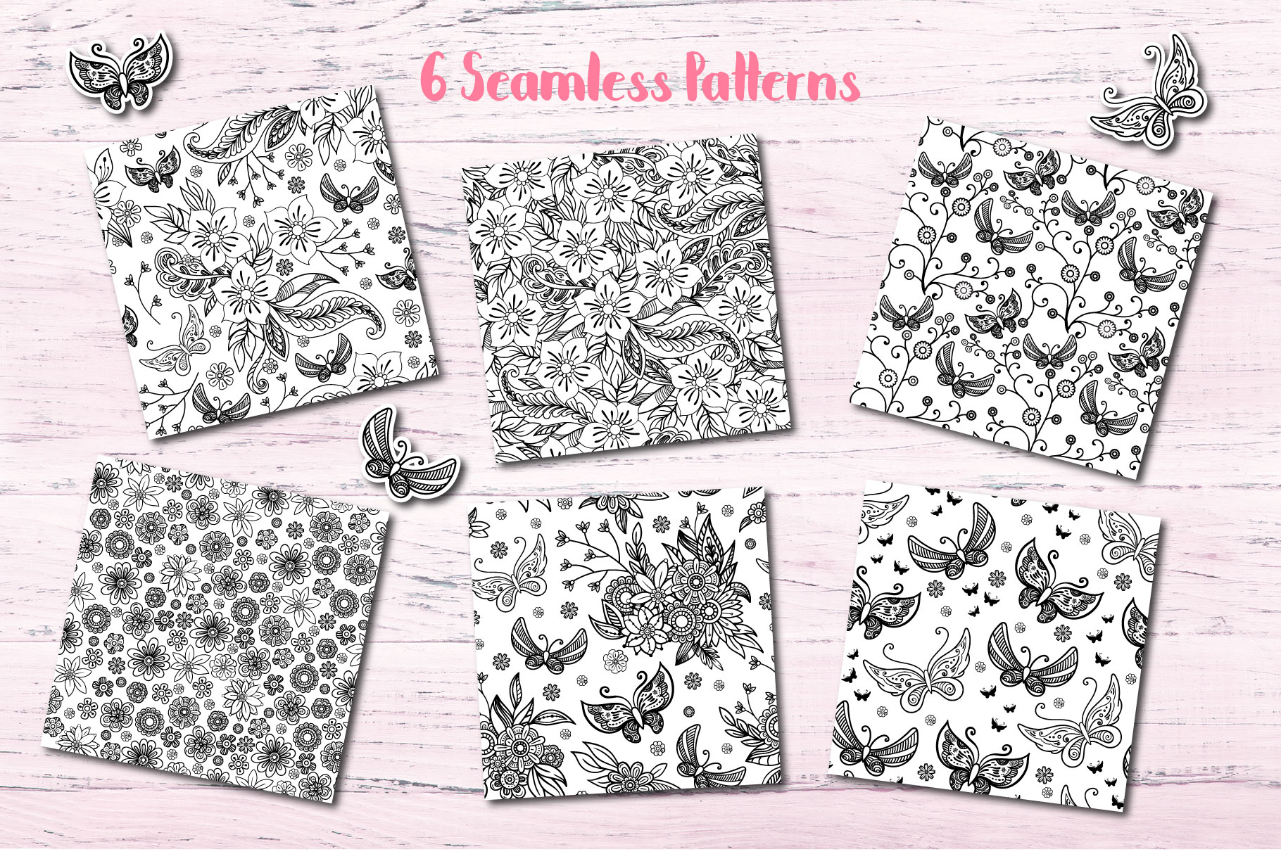 Butterfly Seamless Patterns example image 2
