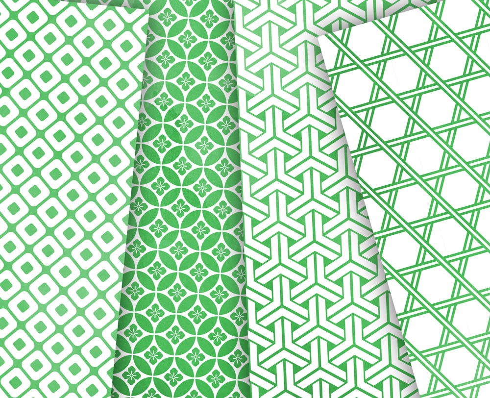 Greenery Digital Paper Japanese Background Patterns in Green example image 5