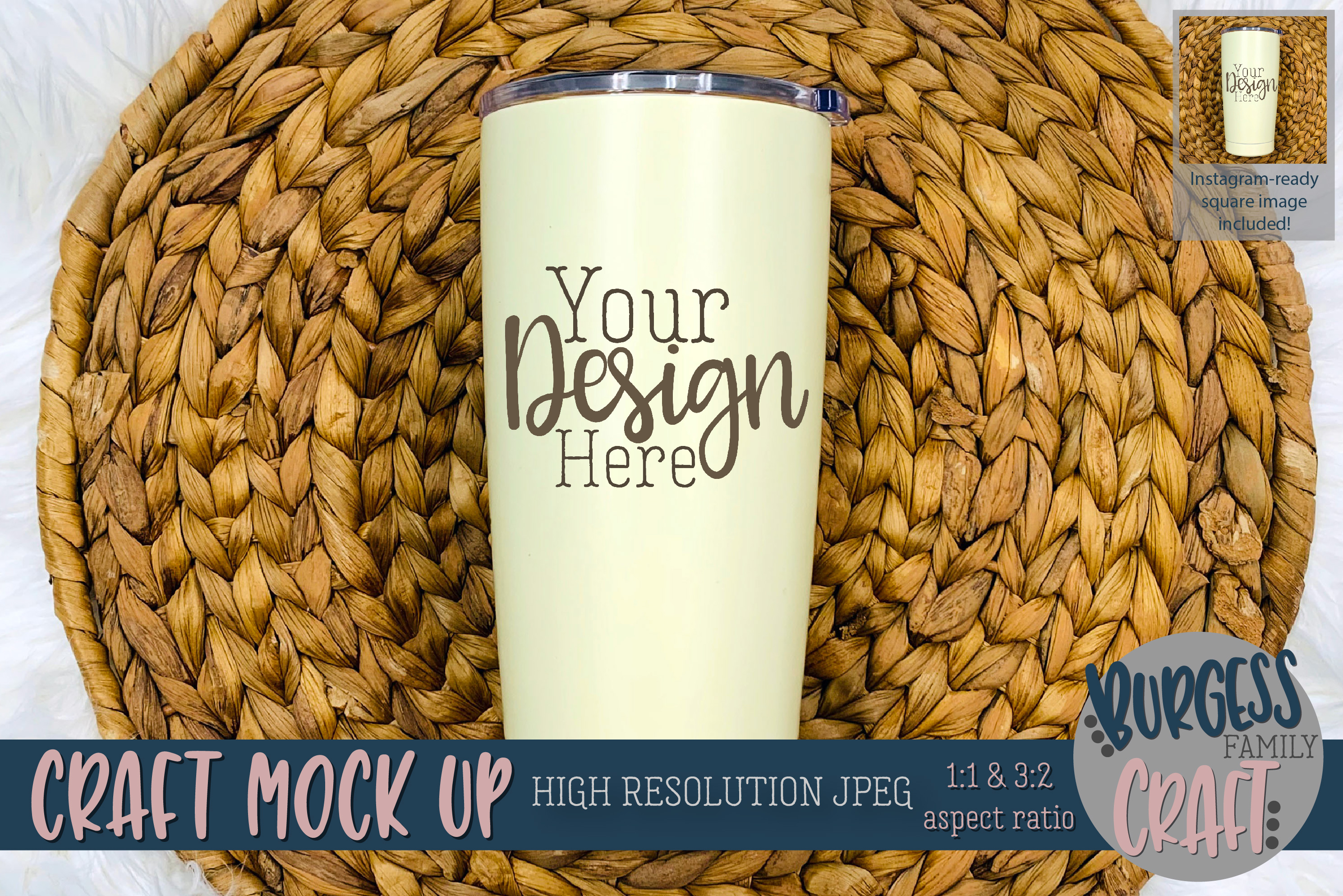 Stainless steel tumbler Craft mock up |High Resolution JPEG example image 1