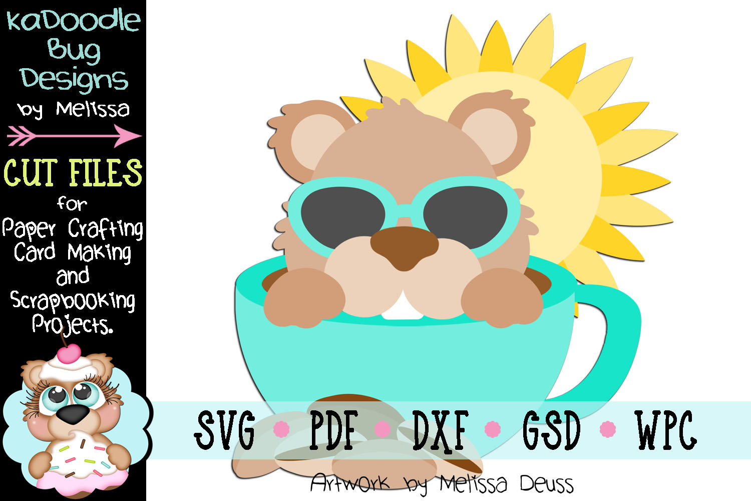 Morning Coffee Groundhog Cut File - SVG PDF DXF GSD WPC example image 1