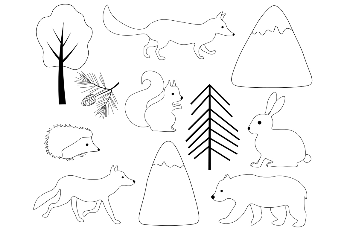 Set of illustrations Animals forest graphics vector example image 2