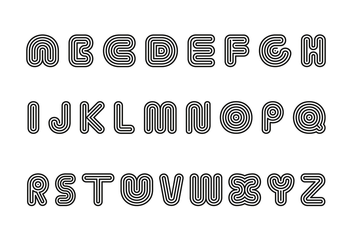 Striped vector alphabet. B&W example image 4