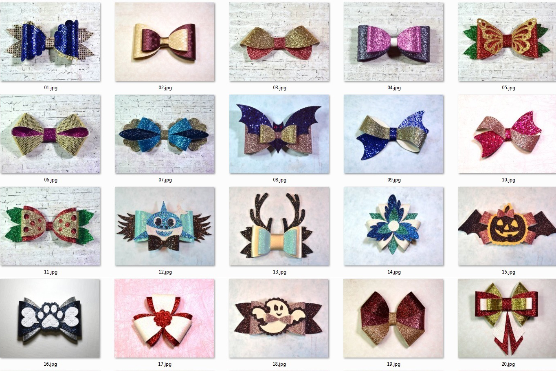 Hair bows template SVG bundle, 100 bows SVG huge bundle example image 5