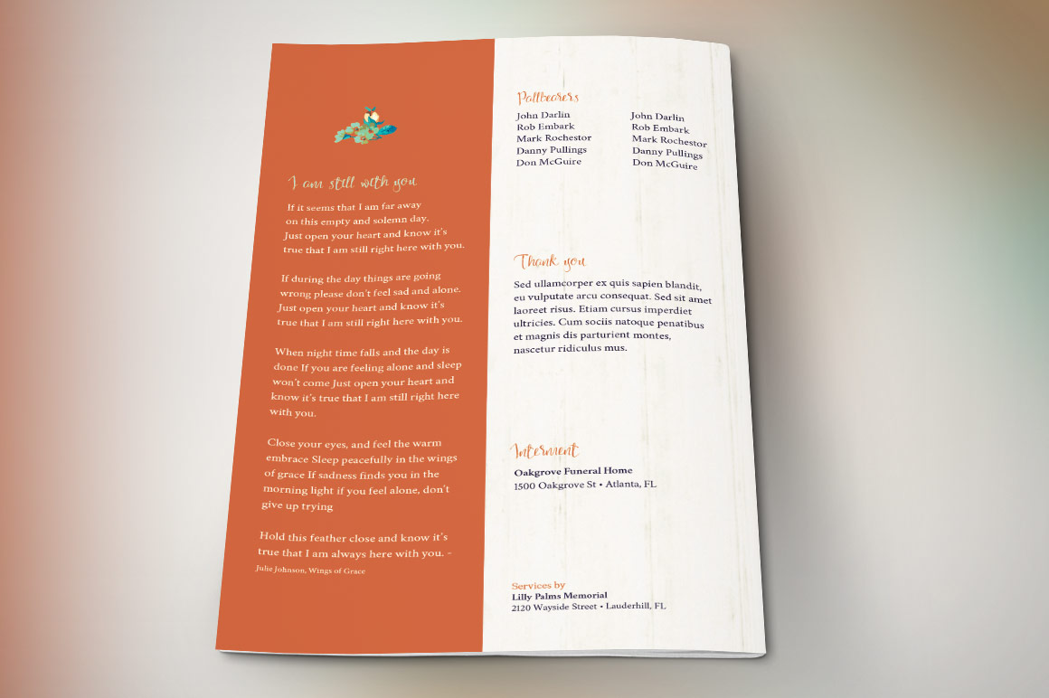 Autumn Floral Funeral Program Template example image 4