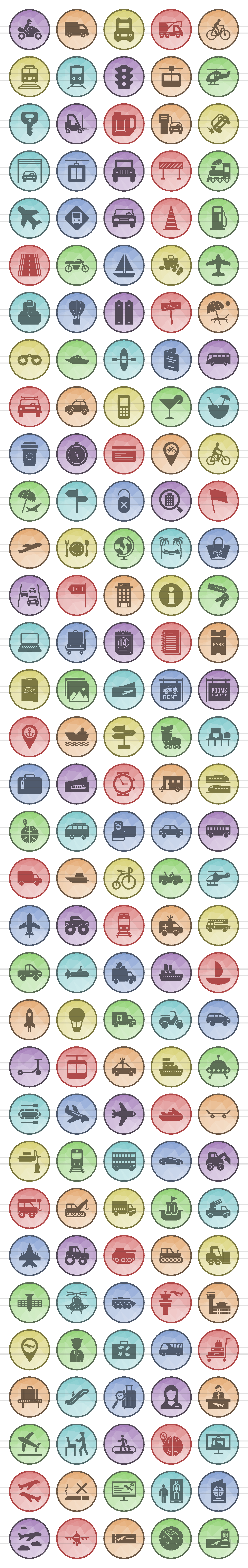 166 Transport Filled Low Poly Icons example image 2