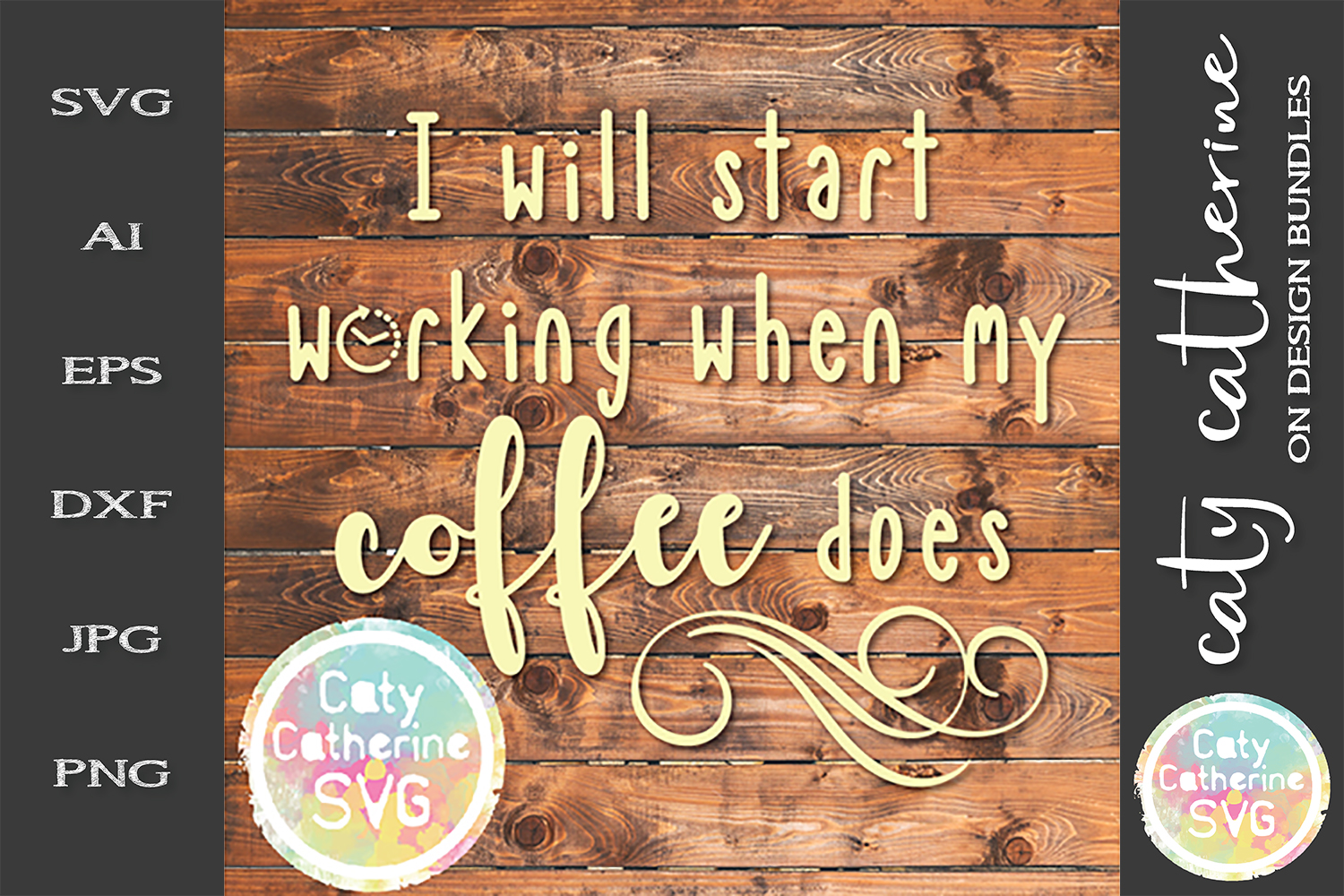 I Will Start Working When My Coffee Does SVG Cut File example image 1