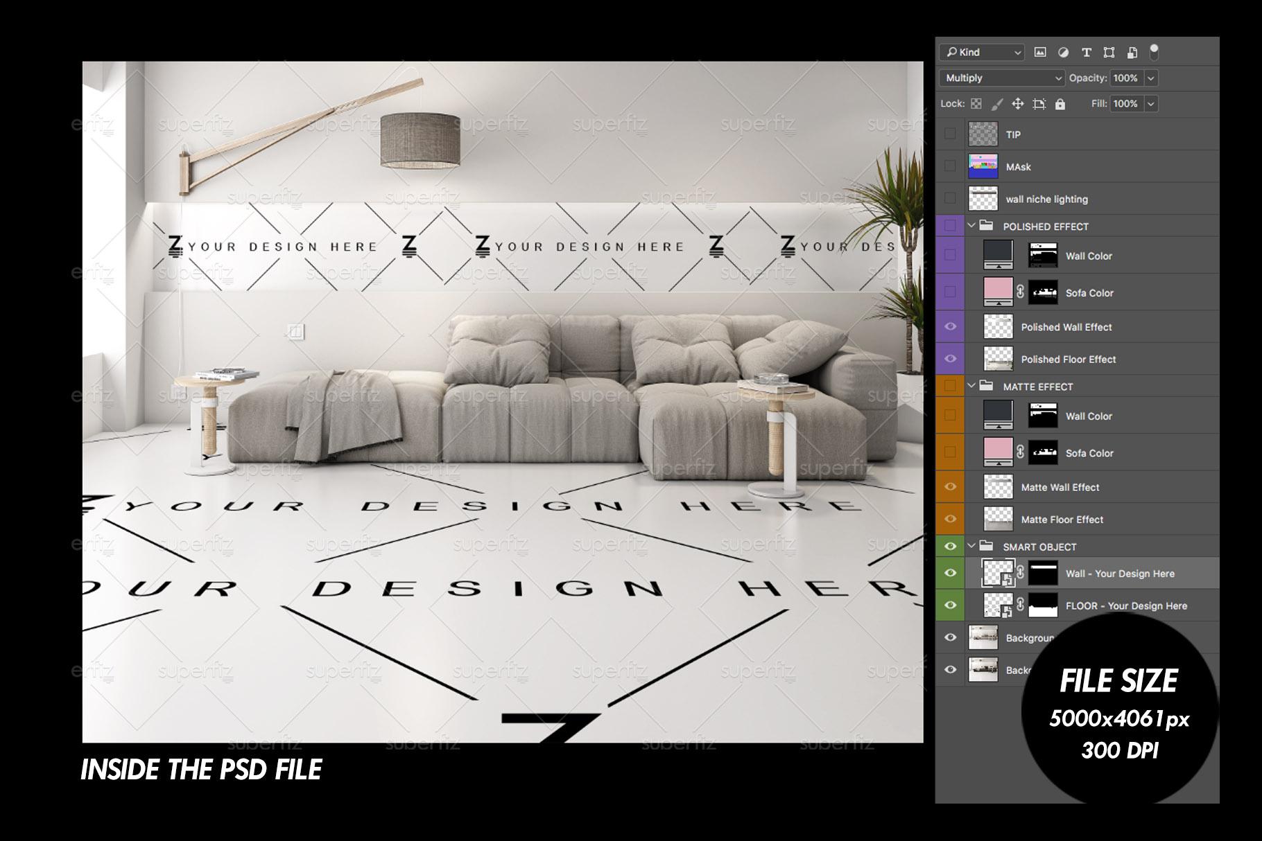 Floor and Wall PSD Mockup Livingroom SM87 example image 5