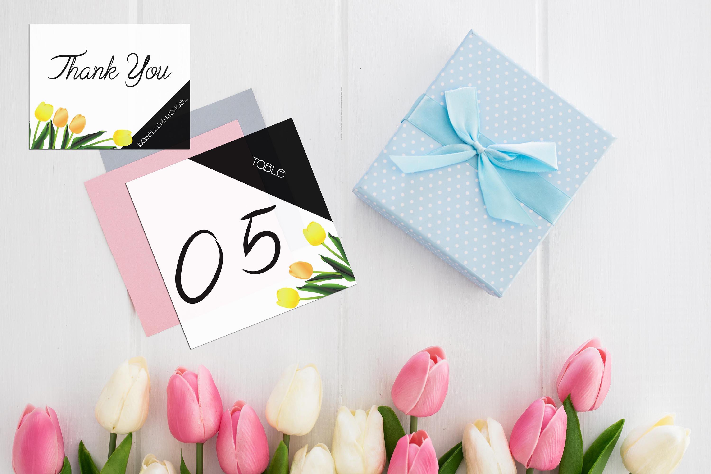 Asymmetric Tulips Wedding Invitation Kit example image 5