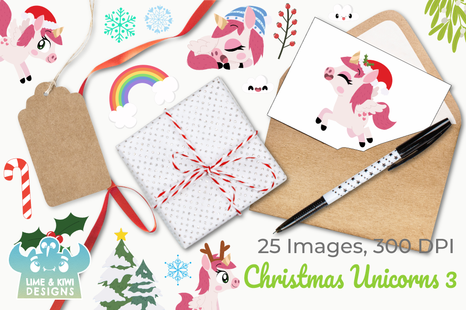 Christmas Unicorns 3 Clipart, Instant Download Vector Art example image 4