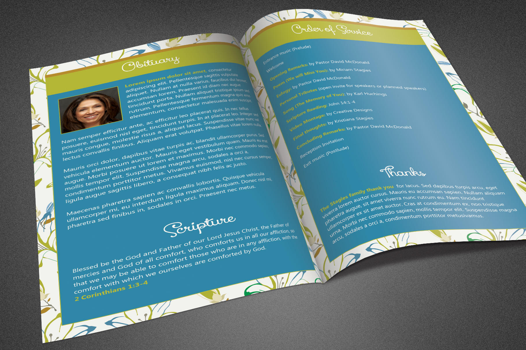 Miss You Funeral Program Template example image 3