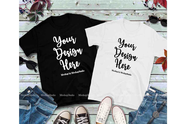 Matching Couples Black T-Shirts Mockup, White Shirt Mock Up example image 1
