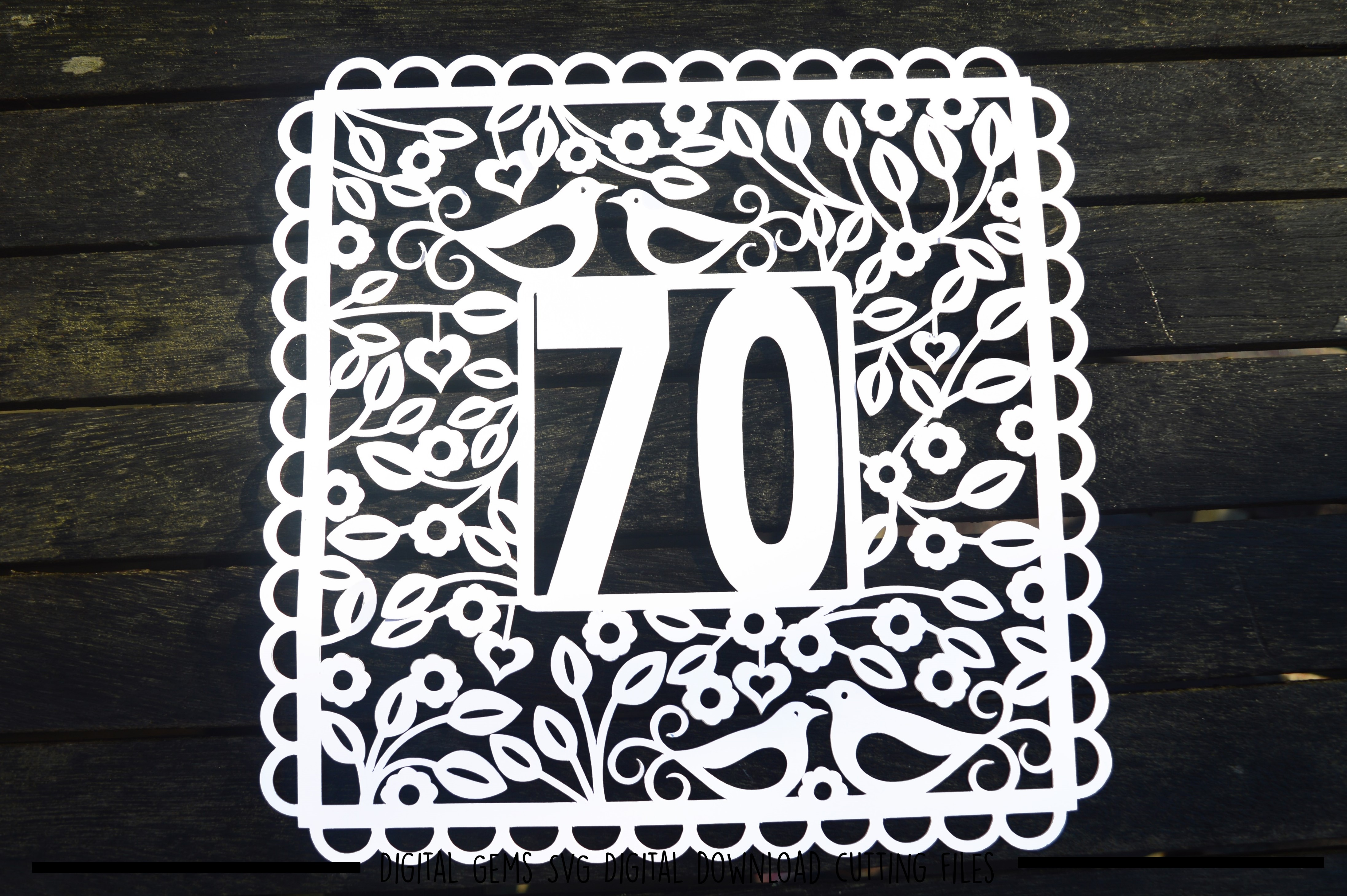 Number 70 paper cut SVG / DXF / EPS files example image 3
