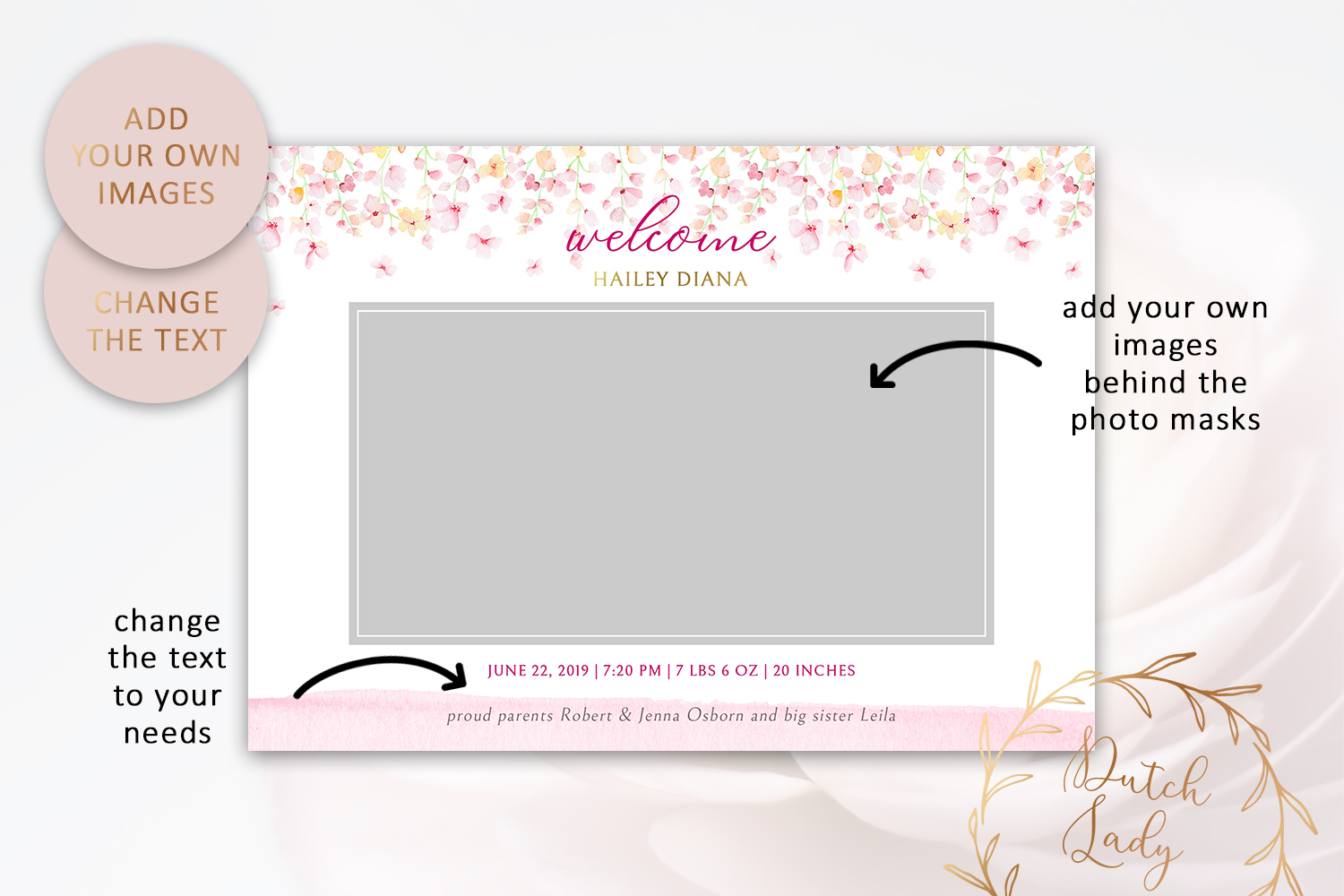 PSD Birth Announcement Card Template - Design #2 example image 2