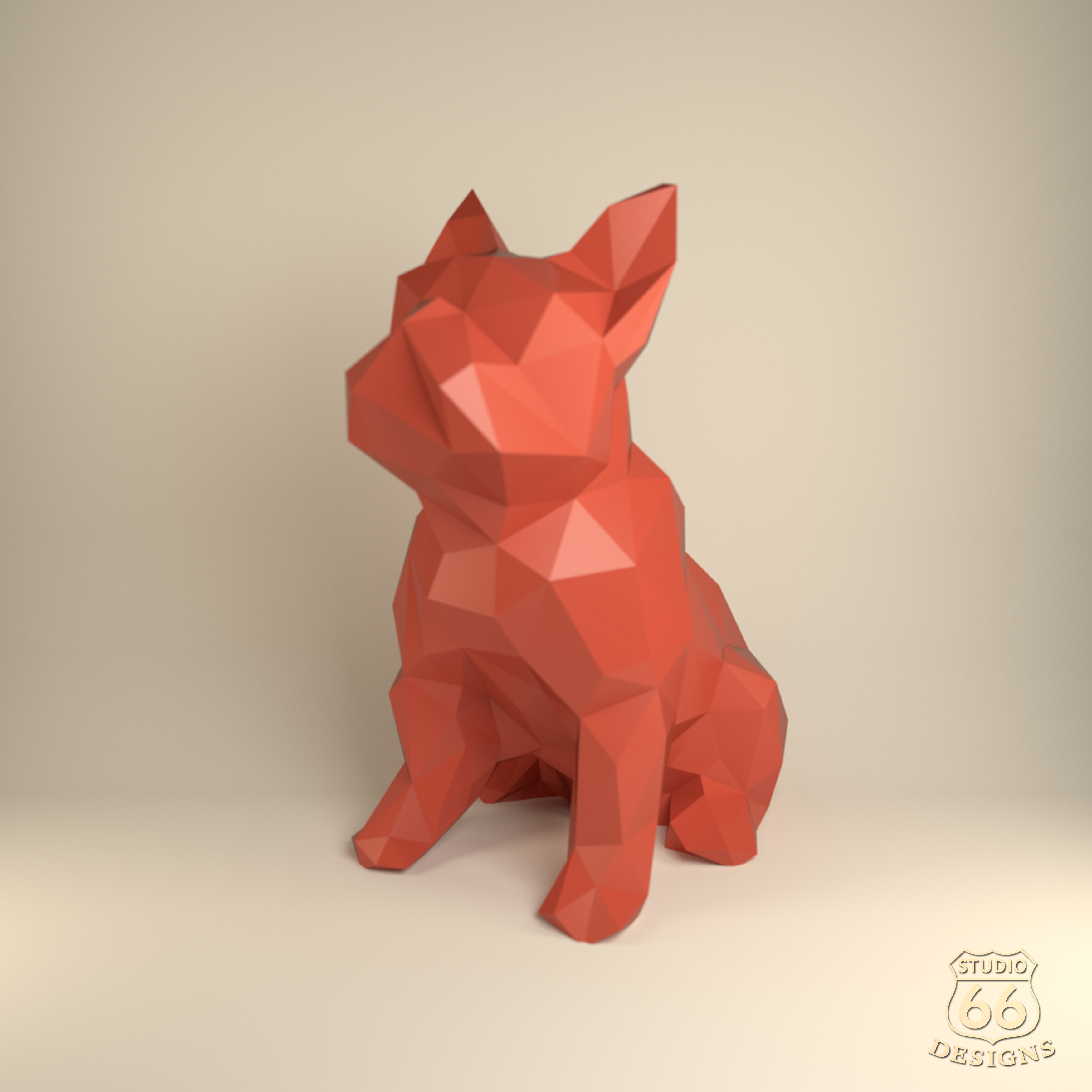 French Bulldog, Papercraft Bulldog, Paper Dog, Paper Animals, Papertoy, Home Decor, Frenchie, 3D papercraft model, lowpoly DIY, hobby idea example image 1