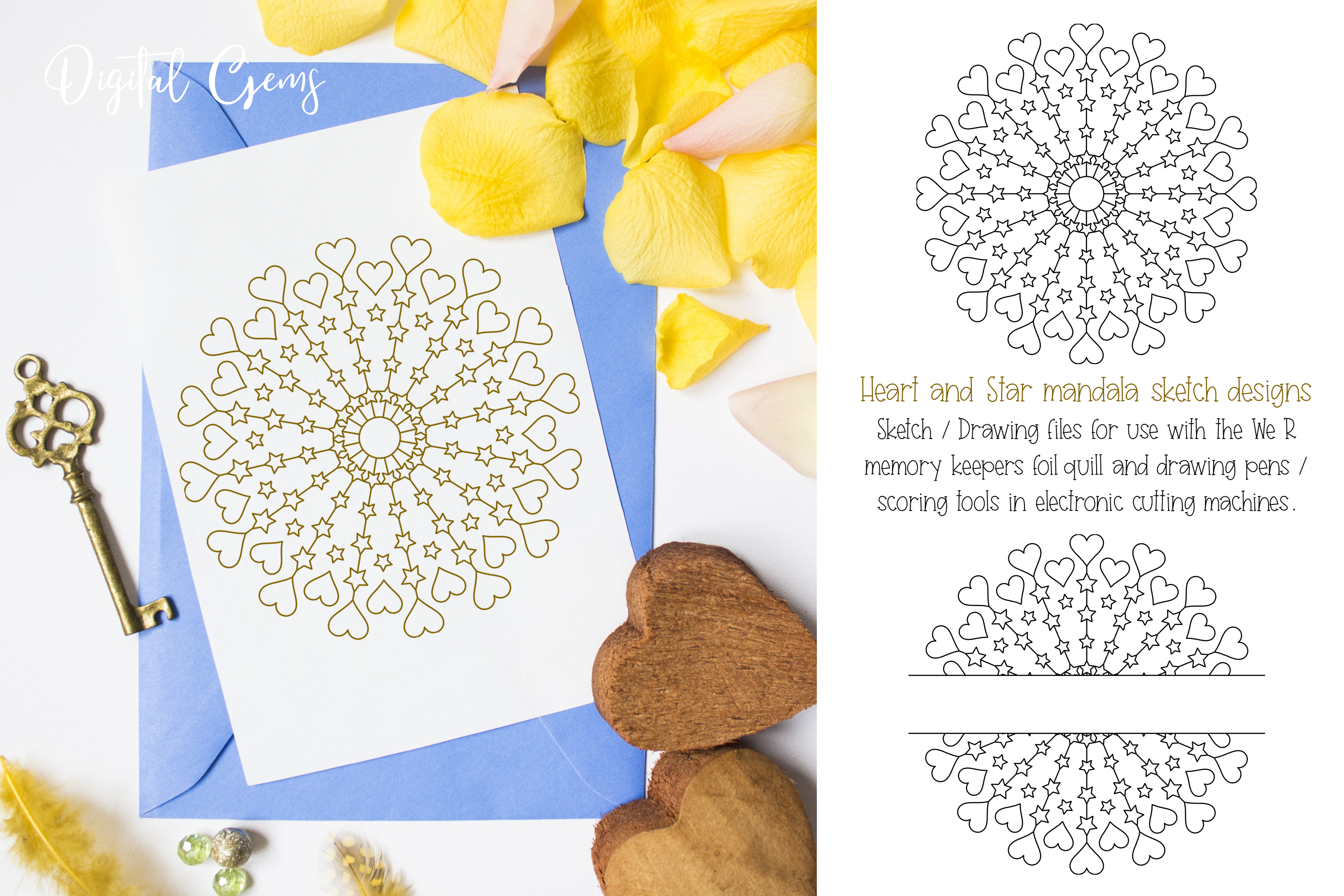 Heart and star mandala, single line sketch / foil quill file example image 1