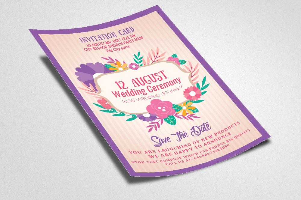 Floral Wedding Invitation / Flyer example image 2