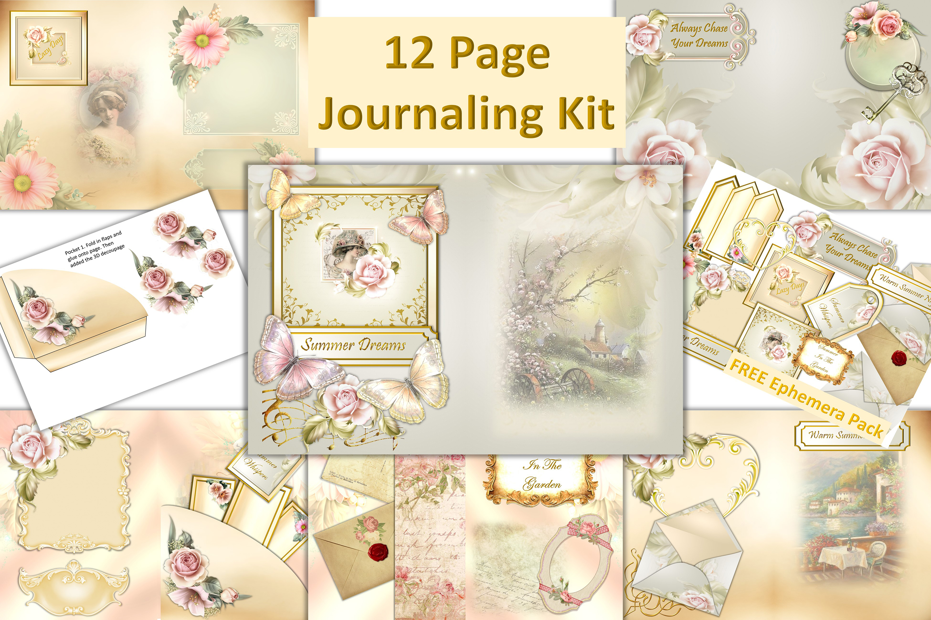 12 page Vintage Journaling Kit with FREE Ephemera. CU example image 1