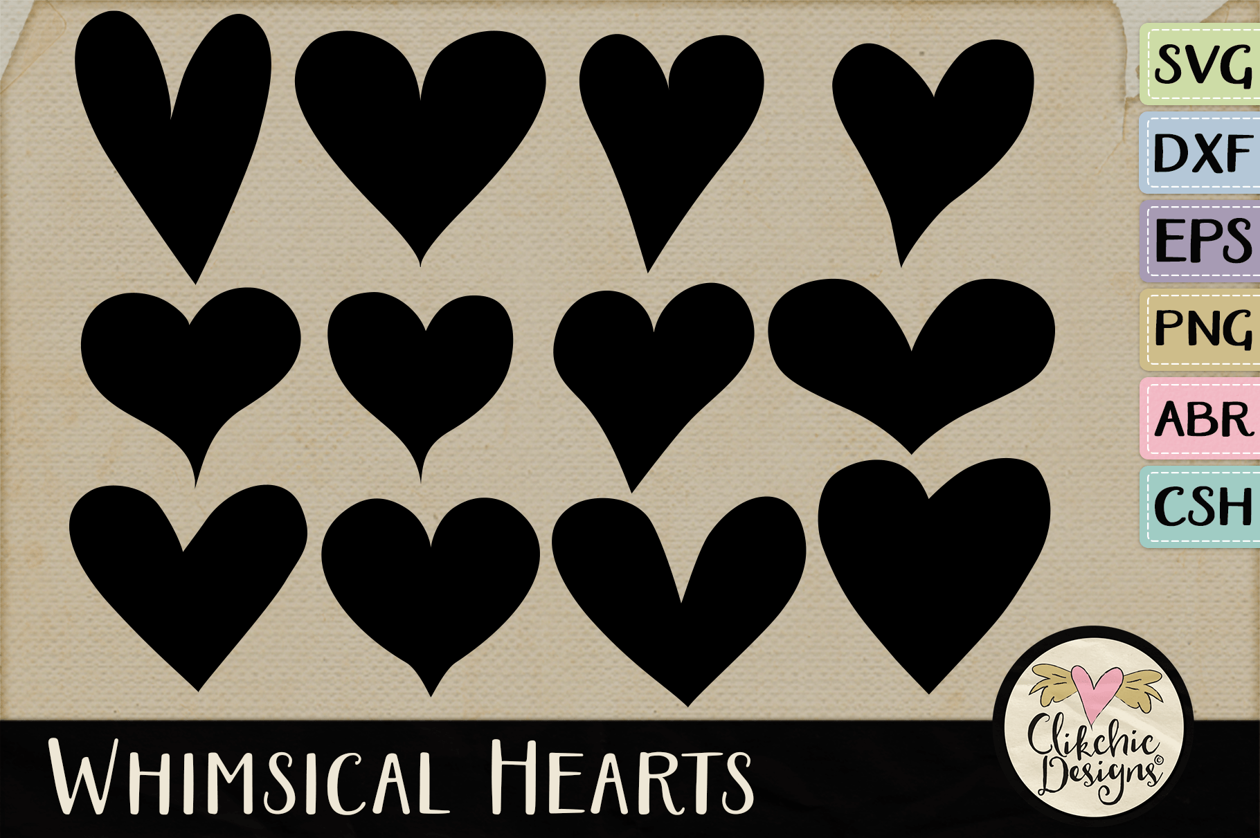 Hearts SVG & DXF Cutting files, Shapes, Photoshop Brushes example image 1