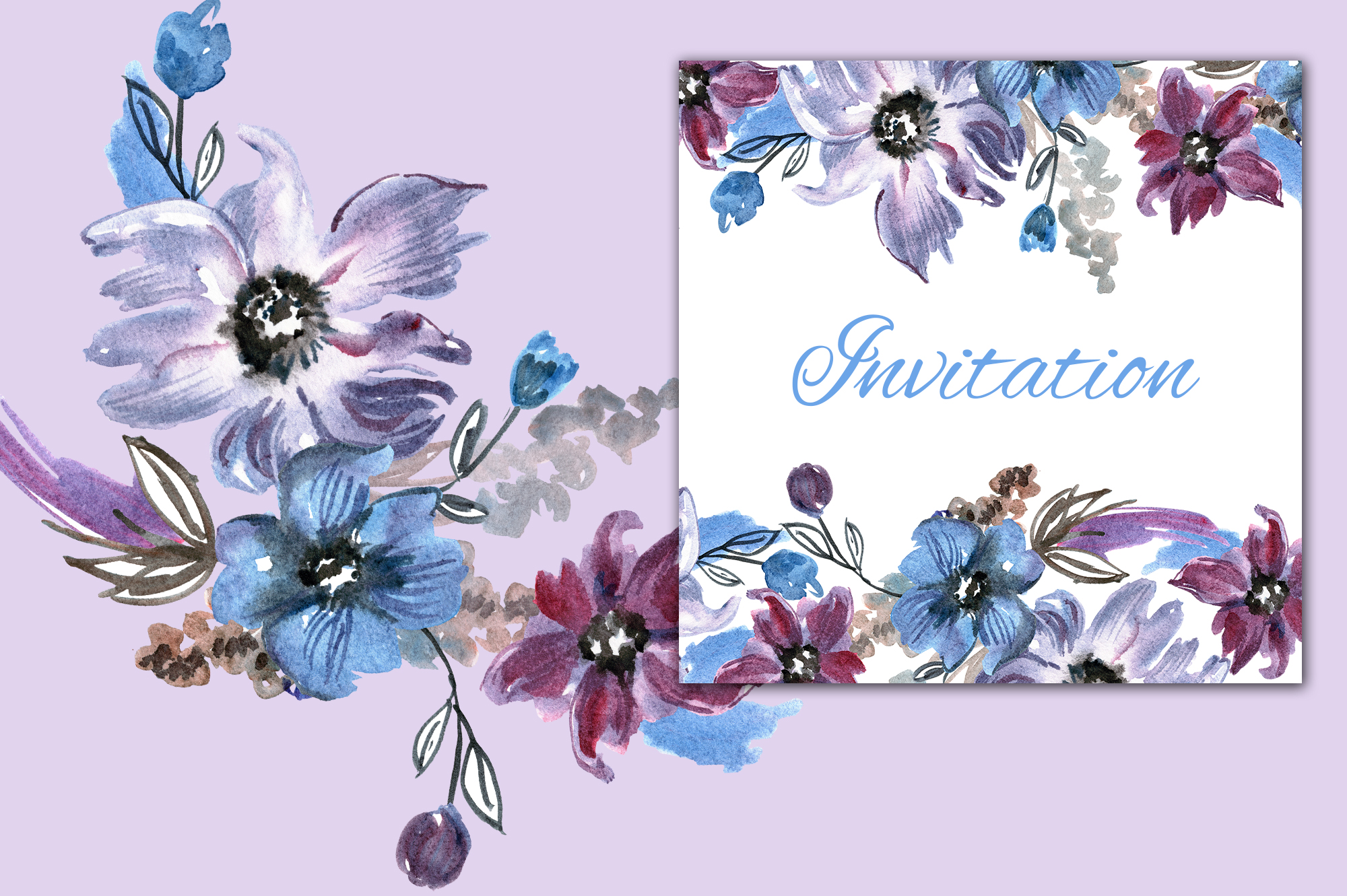 Watercolor violet flowers example image 3