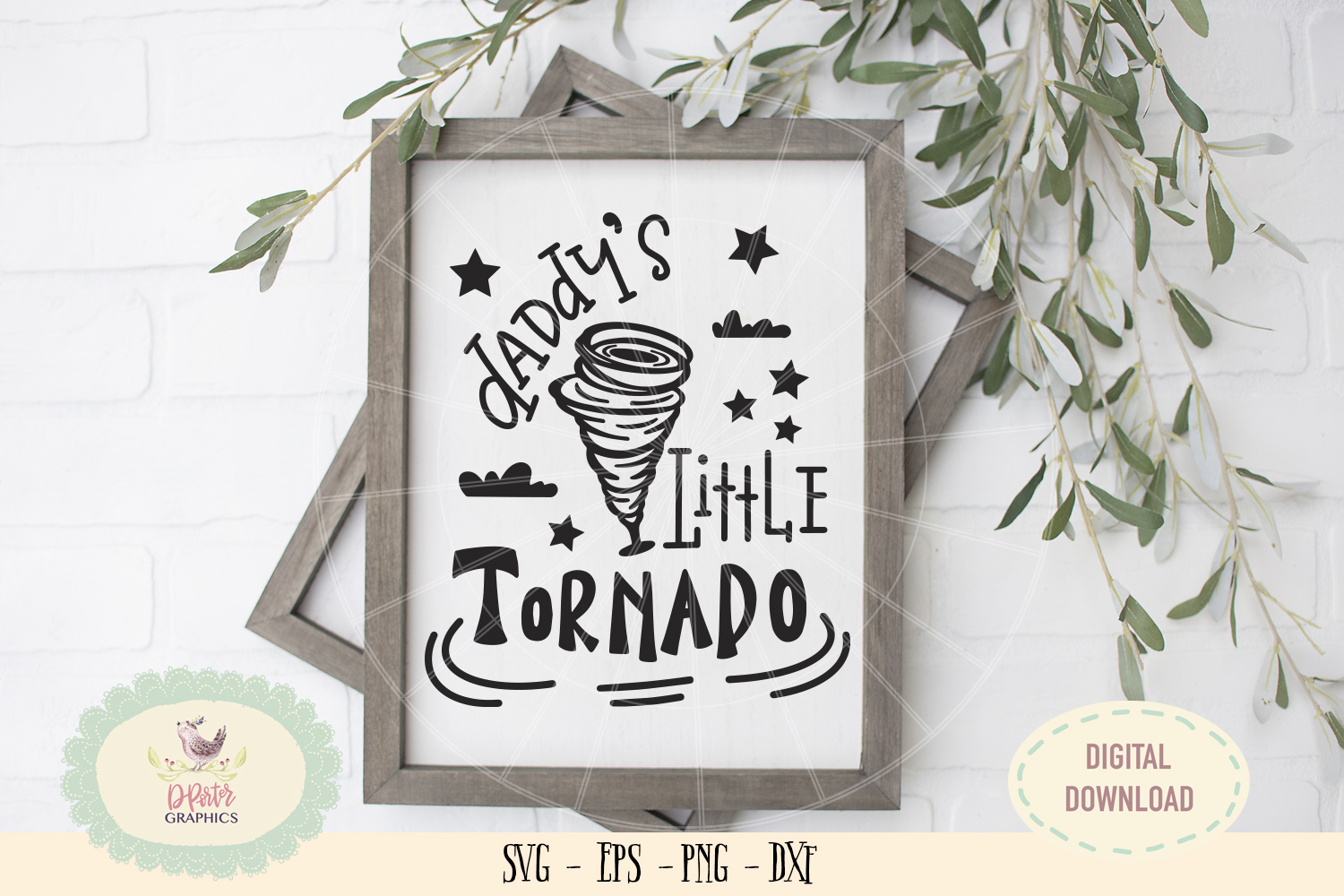 Daddy's little tornado SVG cut file fathers day svg example image 2