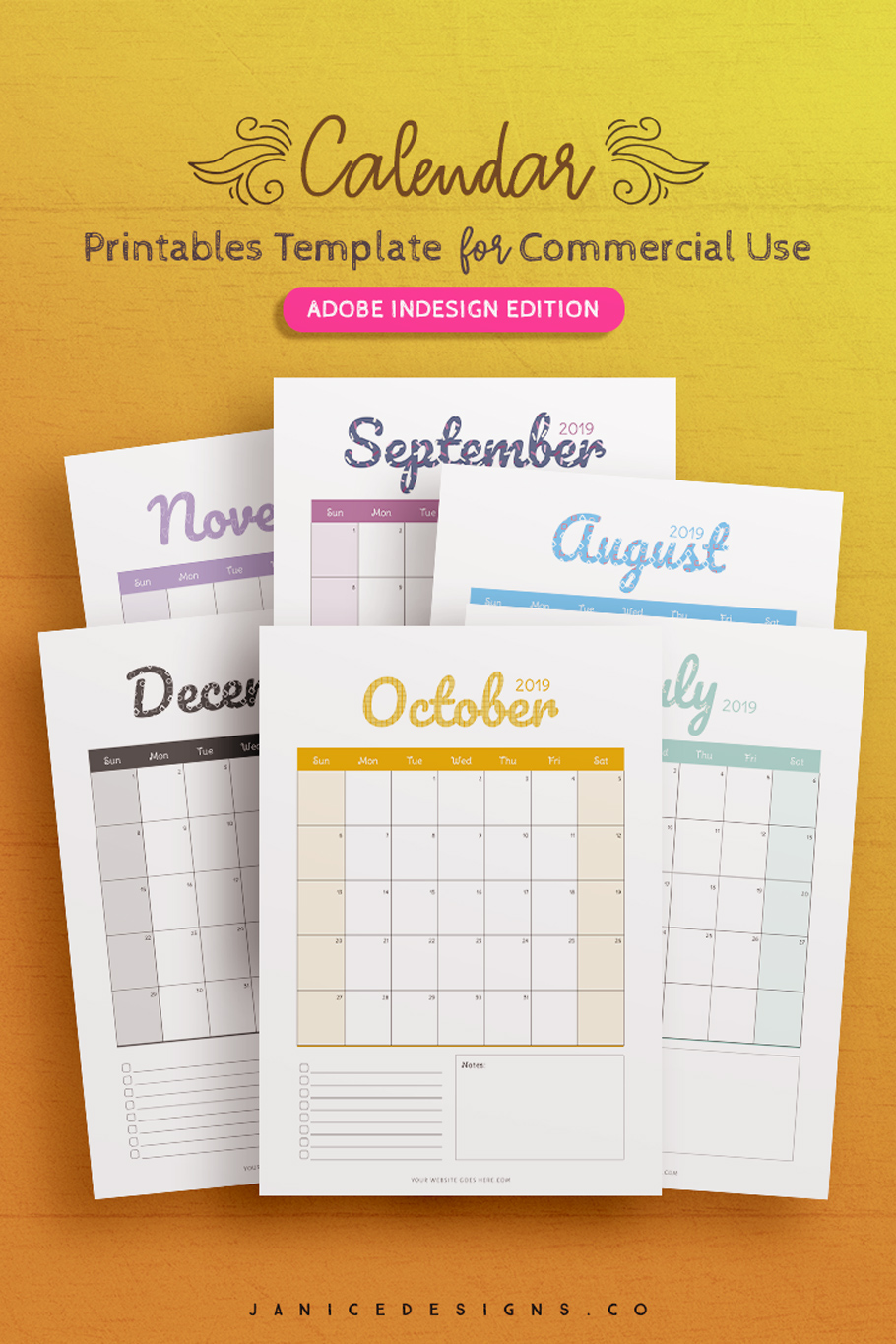 2019 Calendar InDesign Template for Commercial Use example image 3