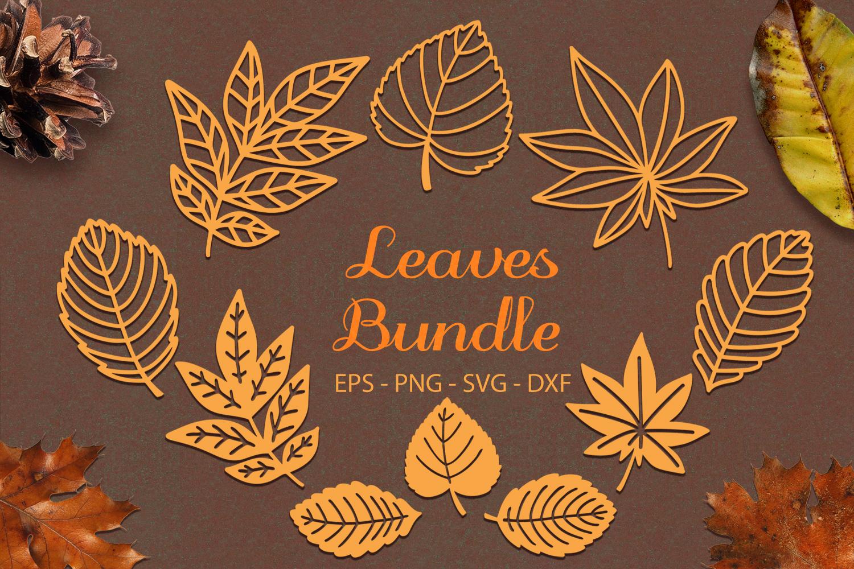 Autumn Leaves Bundle svg png dxf eps - Autumn Leaf Paper Cut example image 1