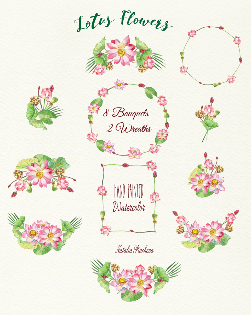 Lotus Flowers. Bouquets and Wreaths example image 2
