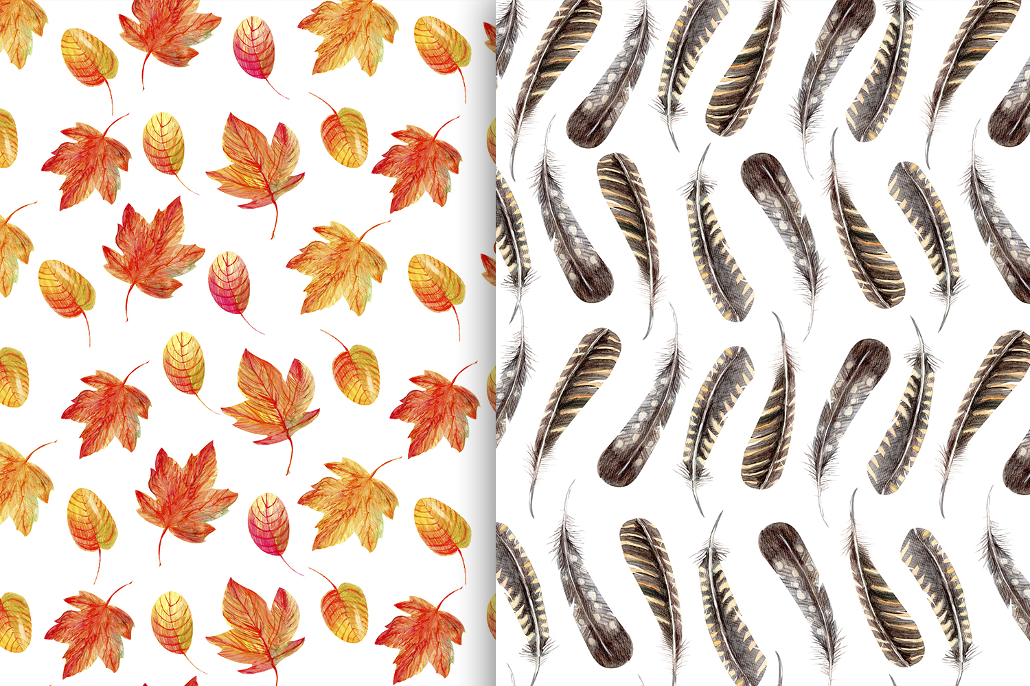 Autumn Watercolor Seamless Patterns Set example image 2