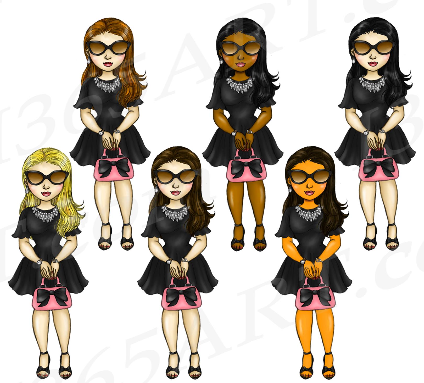 Bad Bae Planner Girls Clipart, Black Dress, Fashion Dolls example image 3