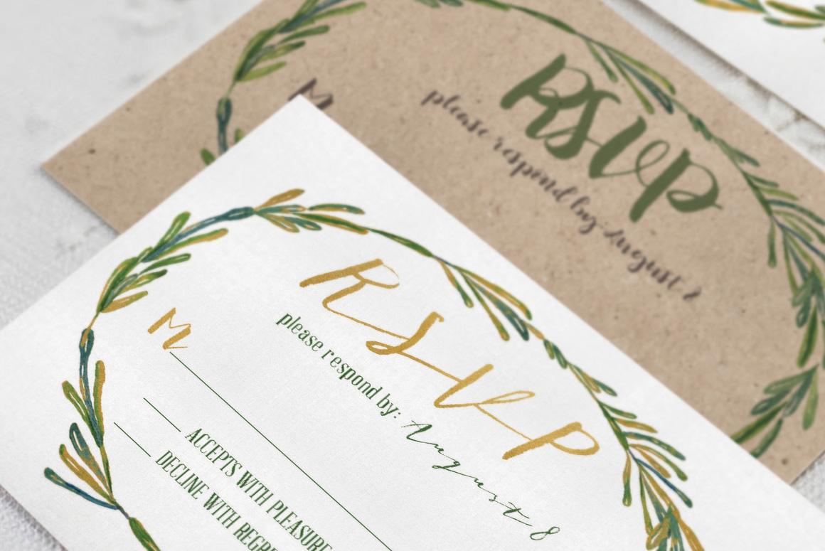 Elegant Wreath Wedding Invitation Suite example image 3