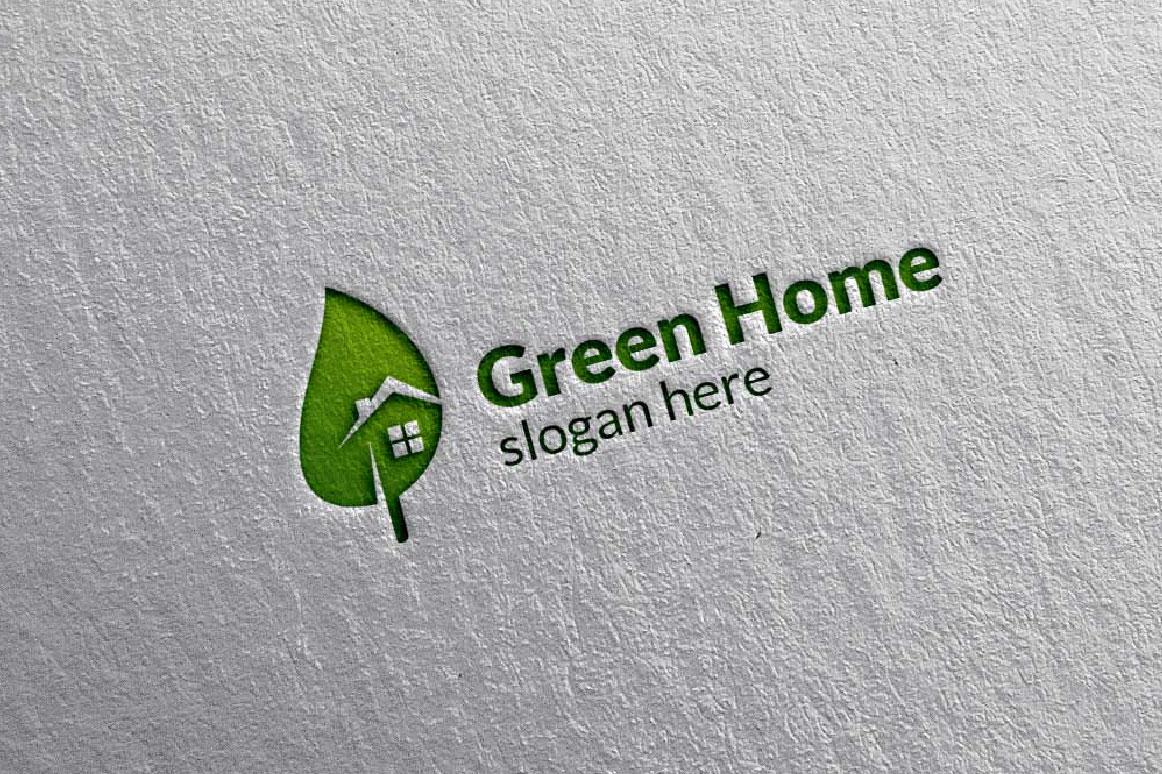 Real estate Logo, Green Home Logo 6 example image 1