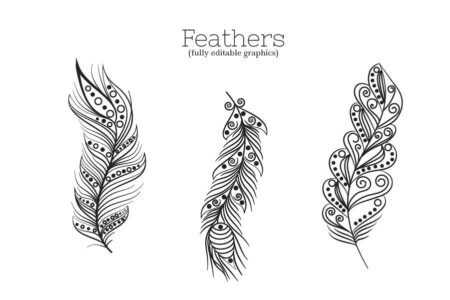 Zenart Boho Feathers Set example image 2