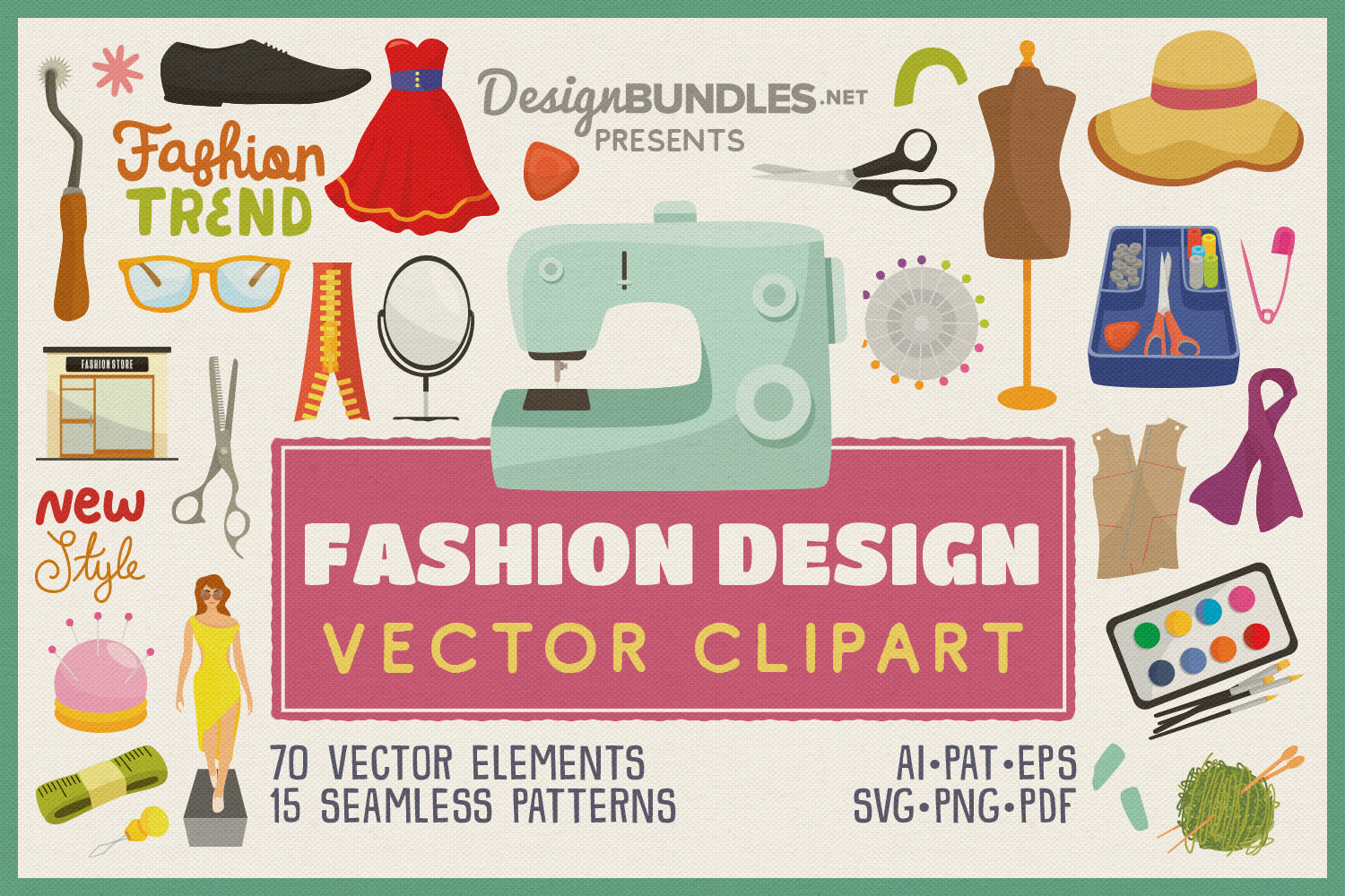 Fashion Design Vector Clipart And Seamless Pattern
