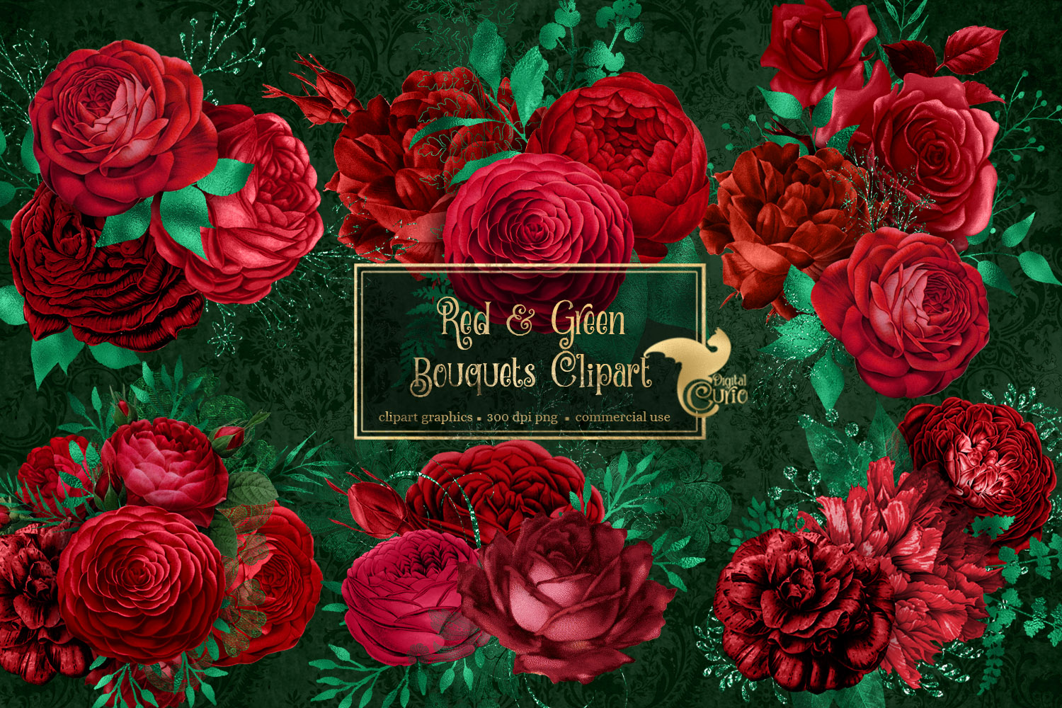 Red and Green Bouquets Clipart example image 2