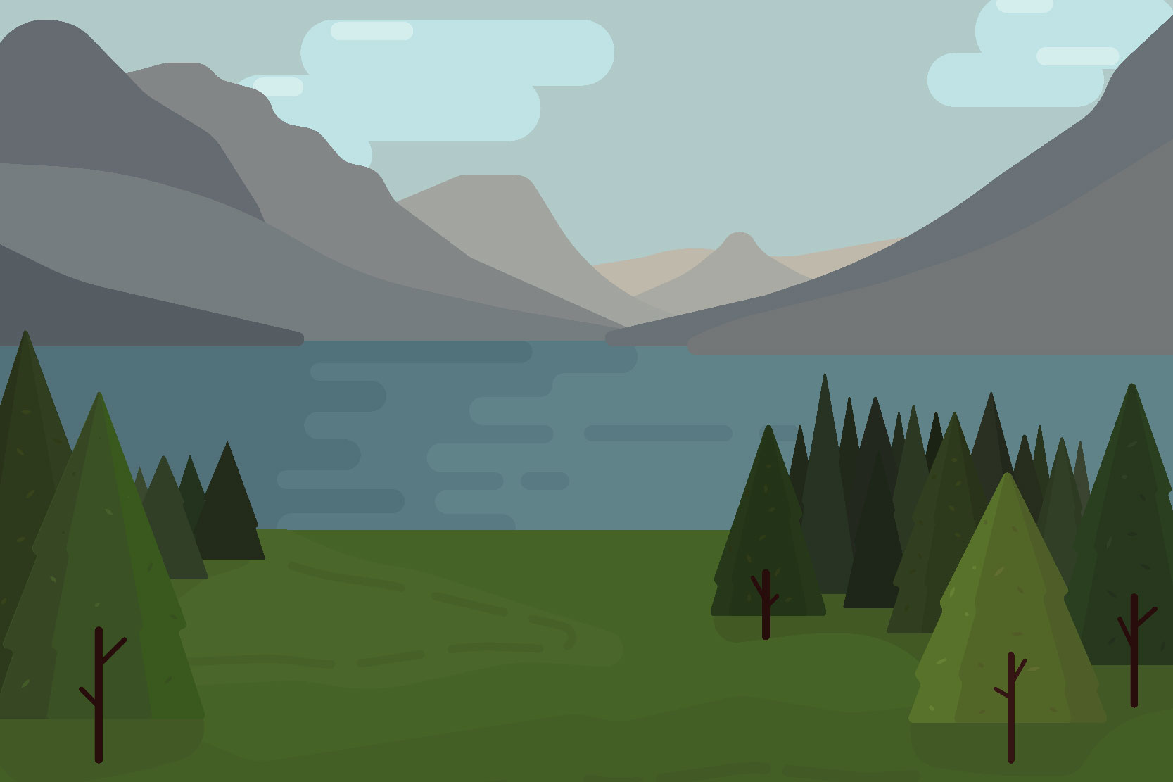 Mountain landscapes - Vector illustrations example image 5
