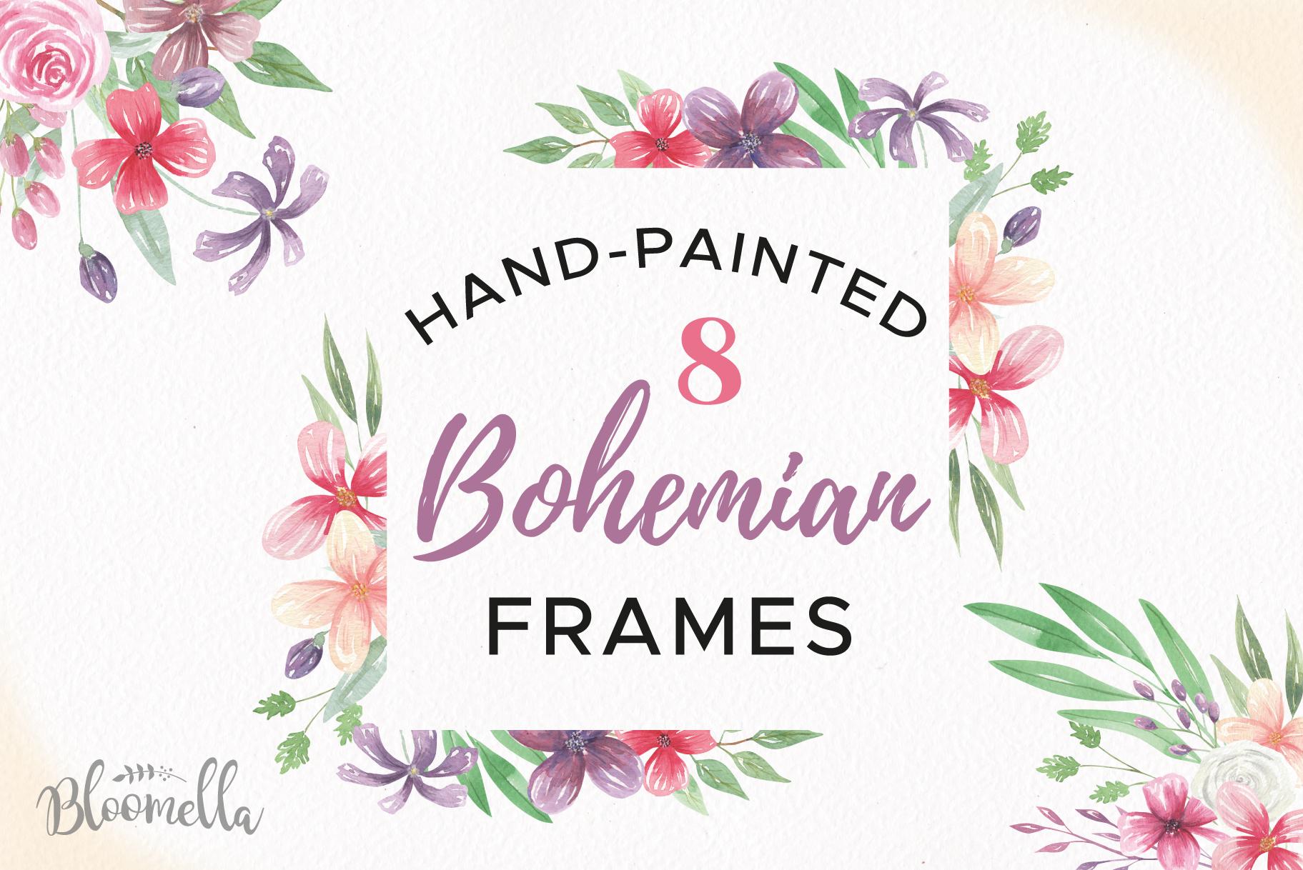 Bohemian Watercolor Clipart Frames Border Flowers Boho Pink Purple