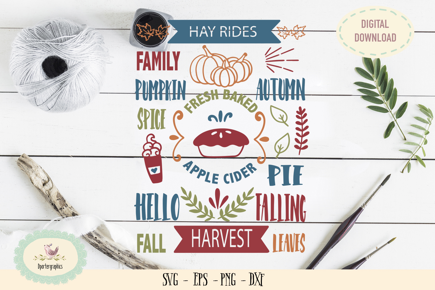 Hay rides pumpkin spice apple cider hello fall SVG PNG example image 1