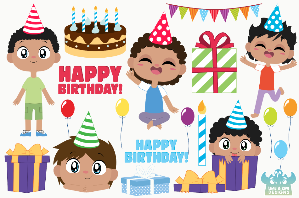 Birthday Party Boys 2 Clipart, Instant Download Vector Art example image 2